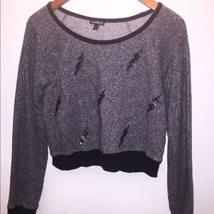 Express Gray Knitted Cropped Sweatshirt